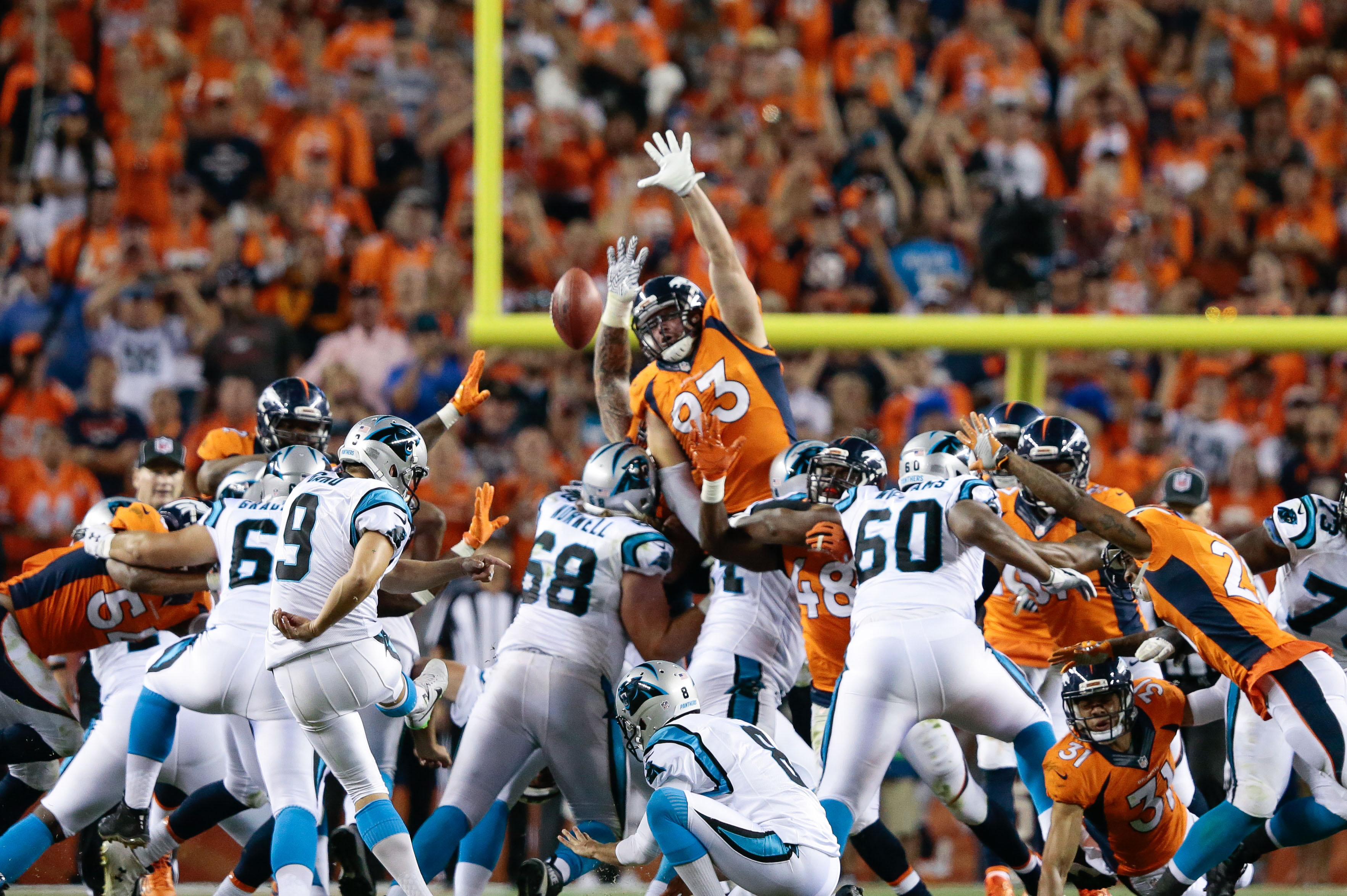 Sep 8, 2016; Denver, CO, USA; Denver Broncos Defensive End Jared Crick (93) Attempts To Block The Field Goal Attempt Of Carolina Panthers Kicker Graham Gano (9) In The Fourth Quarter At Sports Authority Field At Mile High. Mandatory Credit: Isaiah J. Downing-USA TODAY Sports