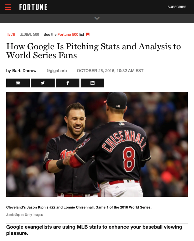 Fortune Magazine featured the World Series analysis provided from the Google Cloud Platform and Sportradar partnership.